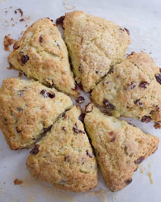 Overhead shot of cranberry scones