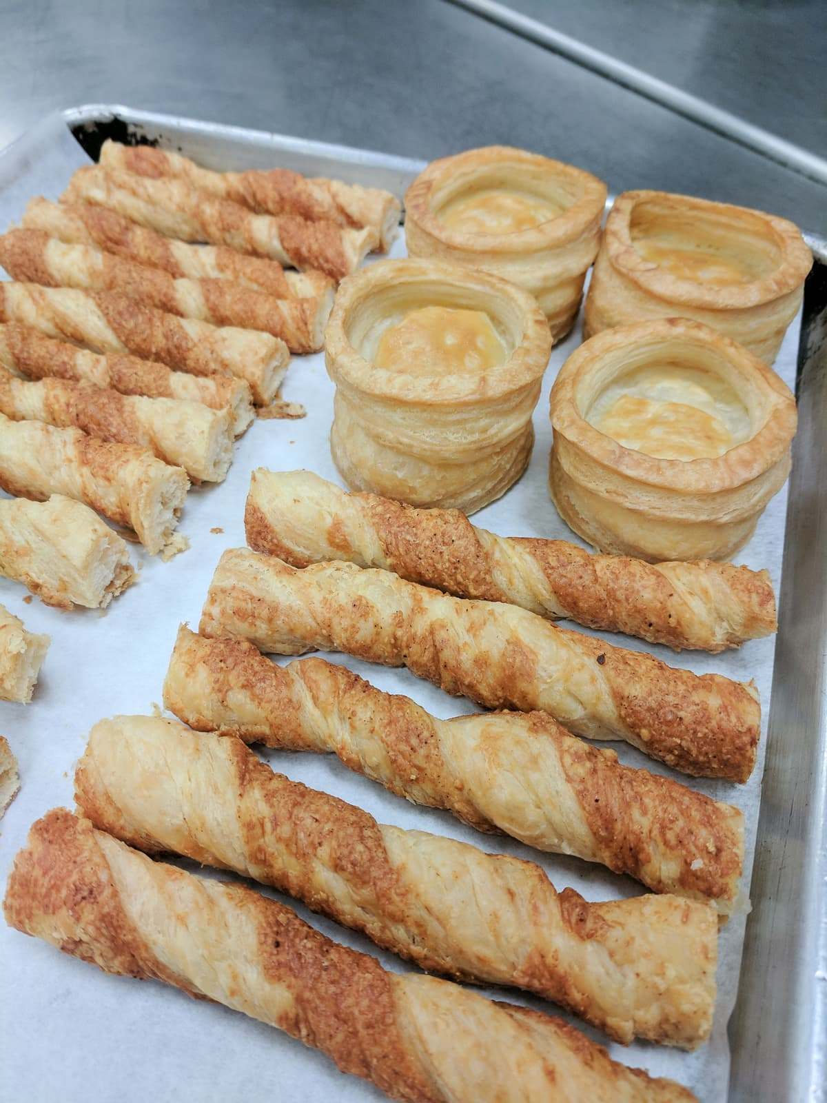 Paillettes (puff pastry cheese straws) and vol-au-vent
