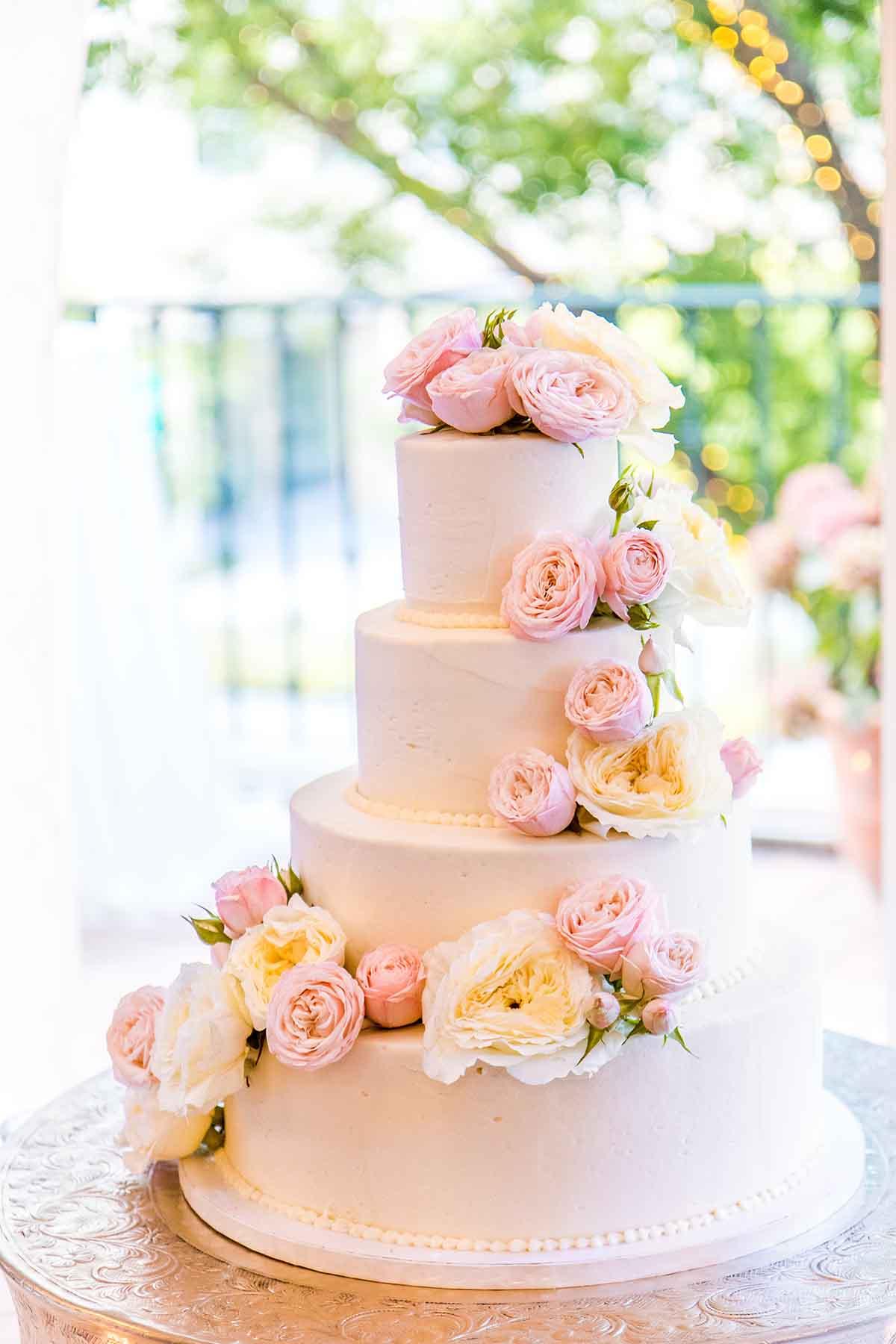 Four tier pink wedding cake