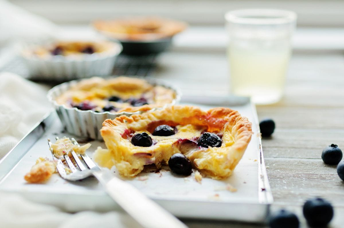 Tart with blueberries on a plate