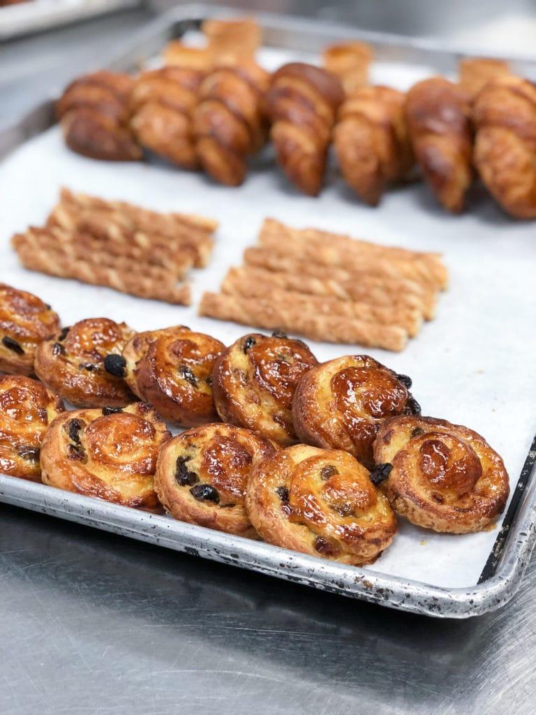 Pain au raisin, paillettes, croissants, and vols-au-vent