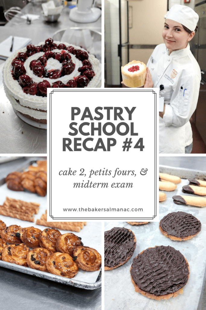 Grid that reads Pastry School Recap #4: Cake 2, Petit Fours, & Midterm Exam with various pictures of baked goods
