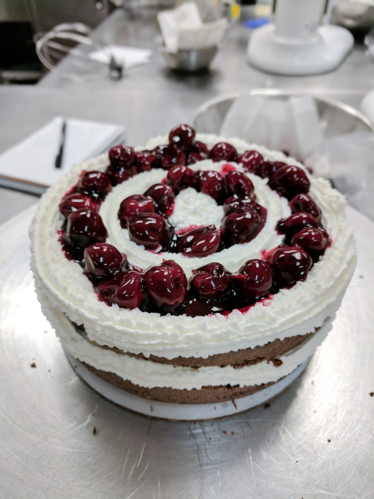 Black forest cake with cherries on top