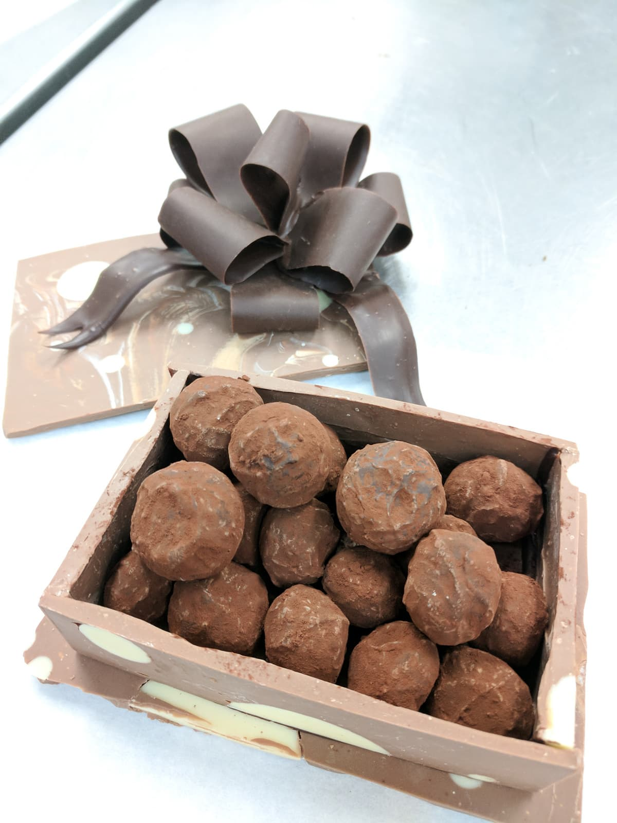 Chocolate box filled with chocolate truffles