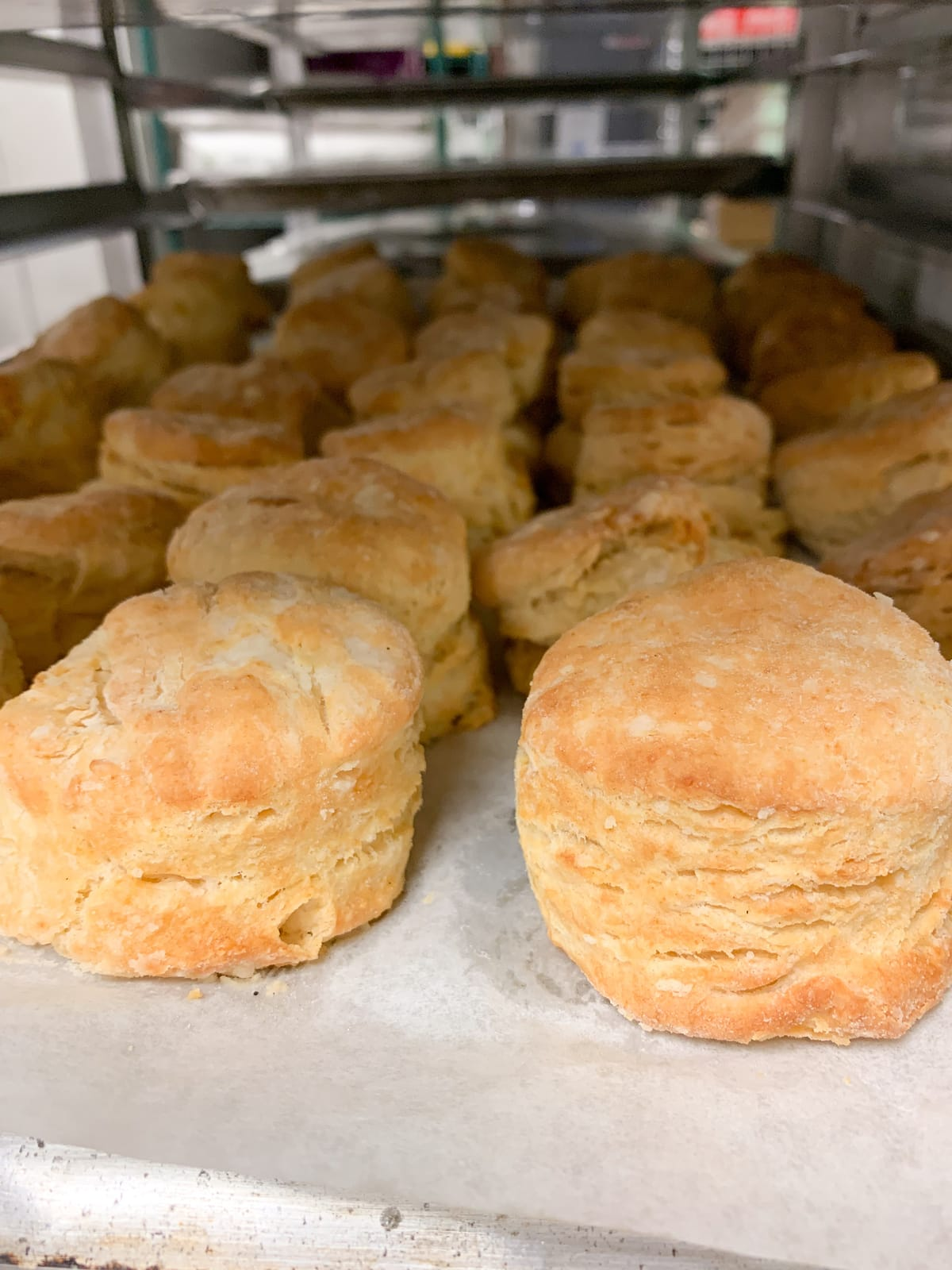 A tray of biscuits on a speed rack