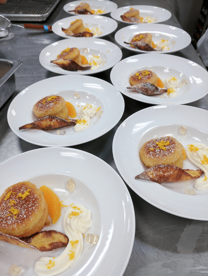 Plated desserts at pastry school