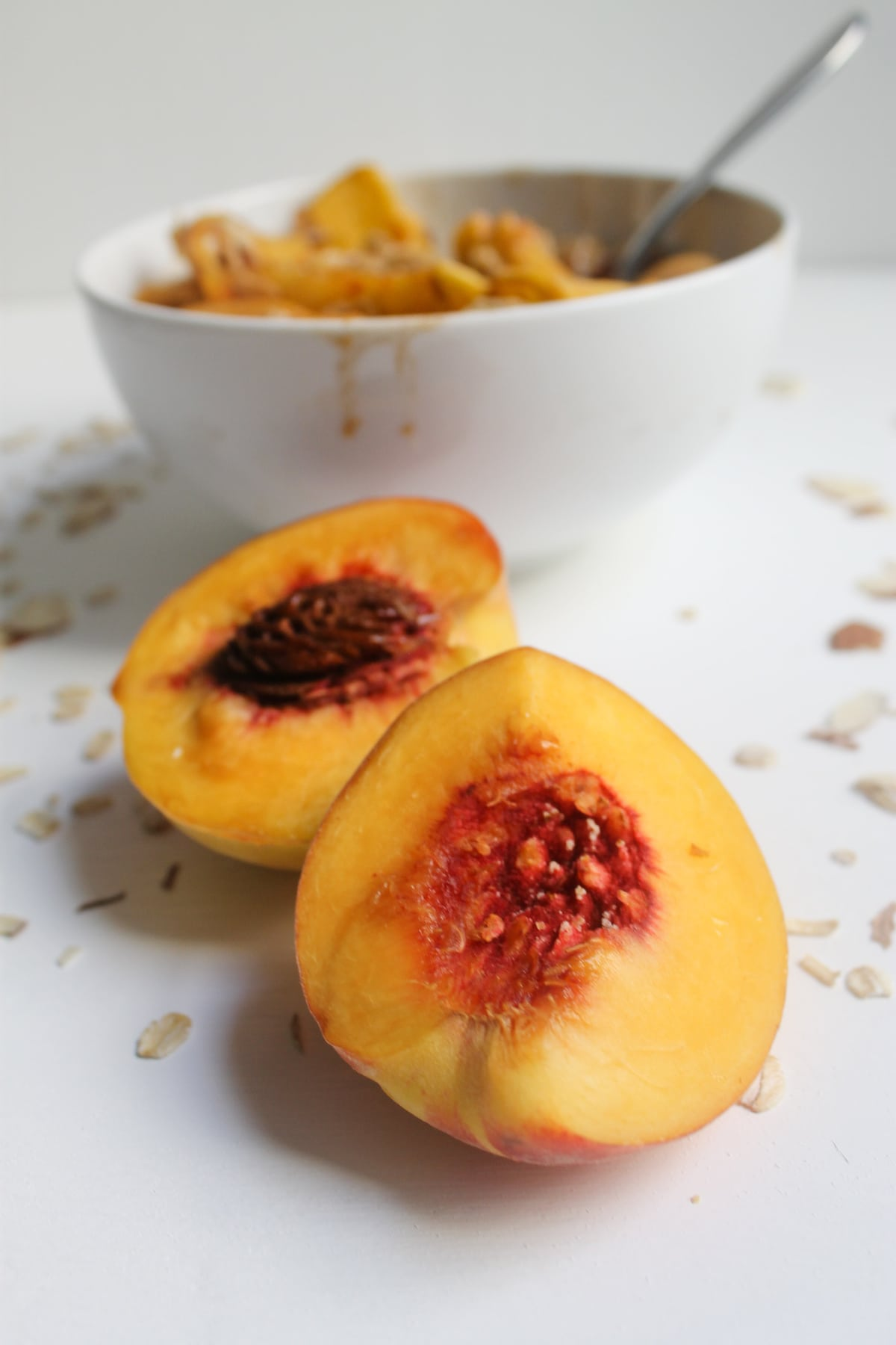 Brown sugar glazed peach oatmeal