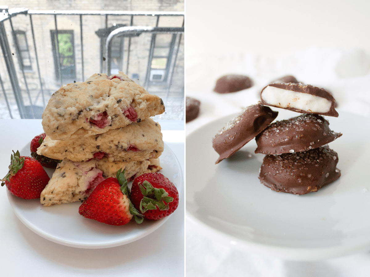 Two photos side-by-side: one of strawberry basil scones and the other of peppermint patties