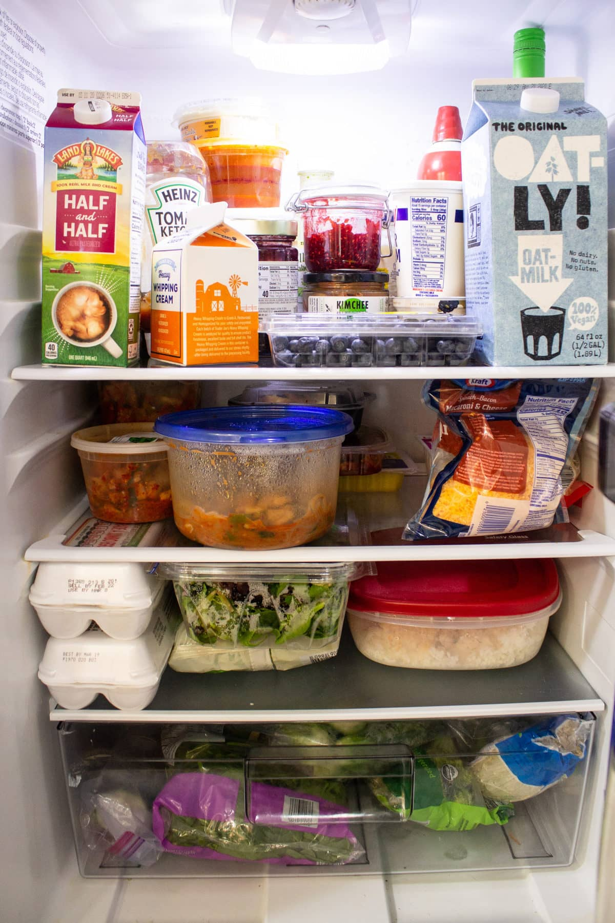 Fridge stocked with food essentials for Frugal February