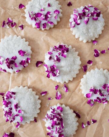 Rose Cardamom Shortbread Cookies