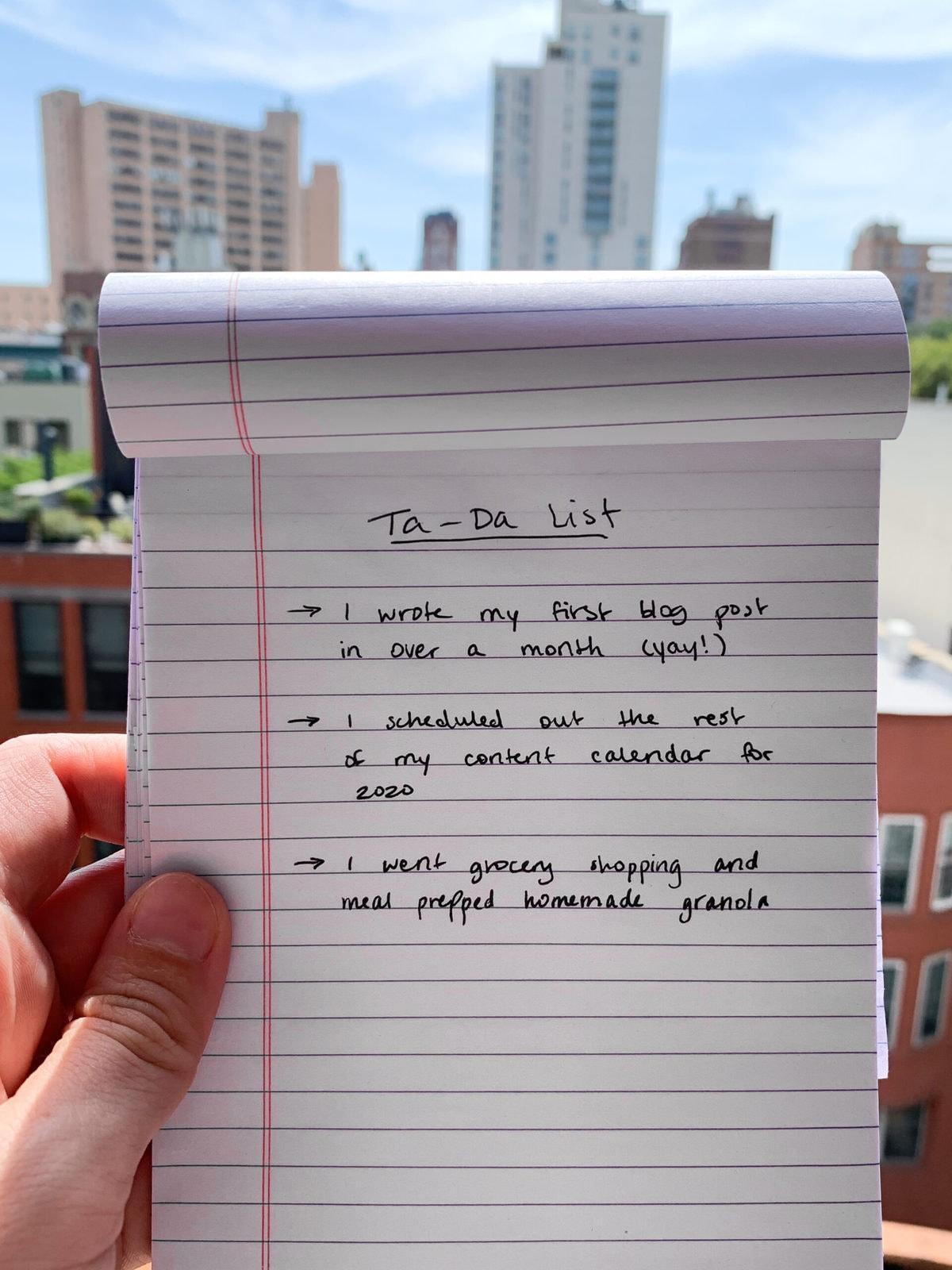 Notepad with ta-da list