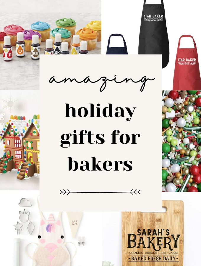 Various images of aprons, sprinkles, gingerbread houses, and a cutting board that reads 'Amazing Holiday Gifts for Bakers'