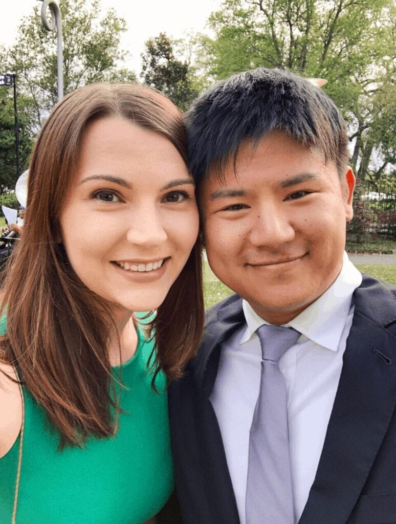 Kyle and Leslie Jeon at a wedding in New Orleans
