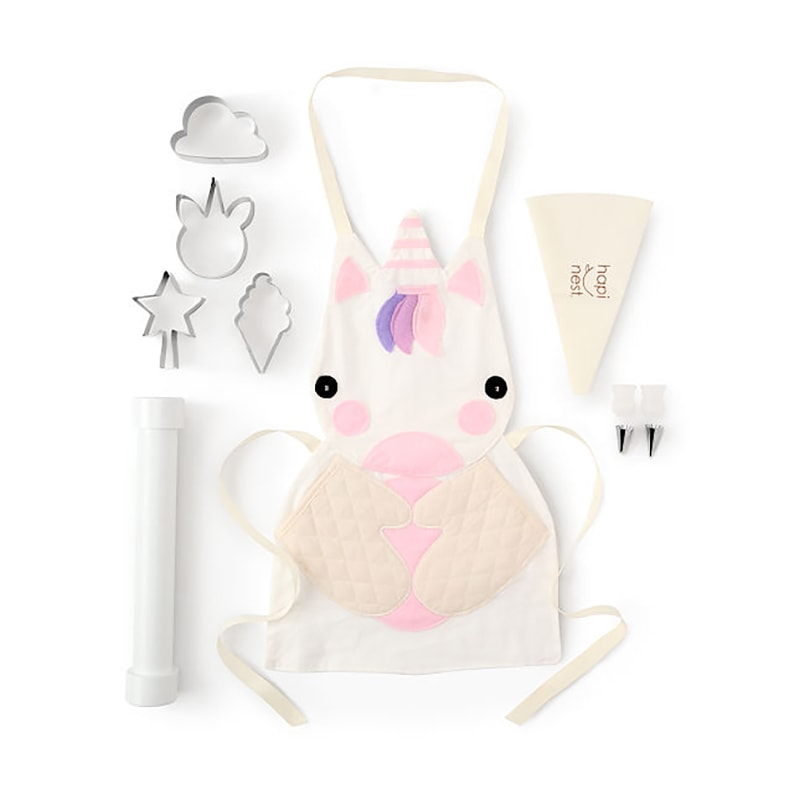 Unicorn apron and cookie cutters
