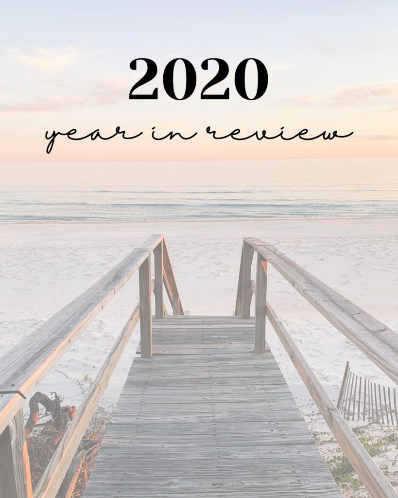 St. George Island beach at sunset with text that reads '2020: Year in Review'