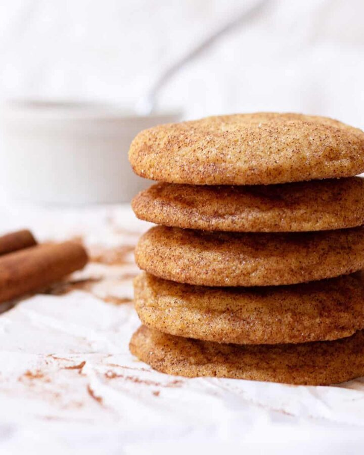 A stack of vegan snickerdoodles