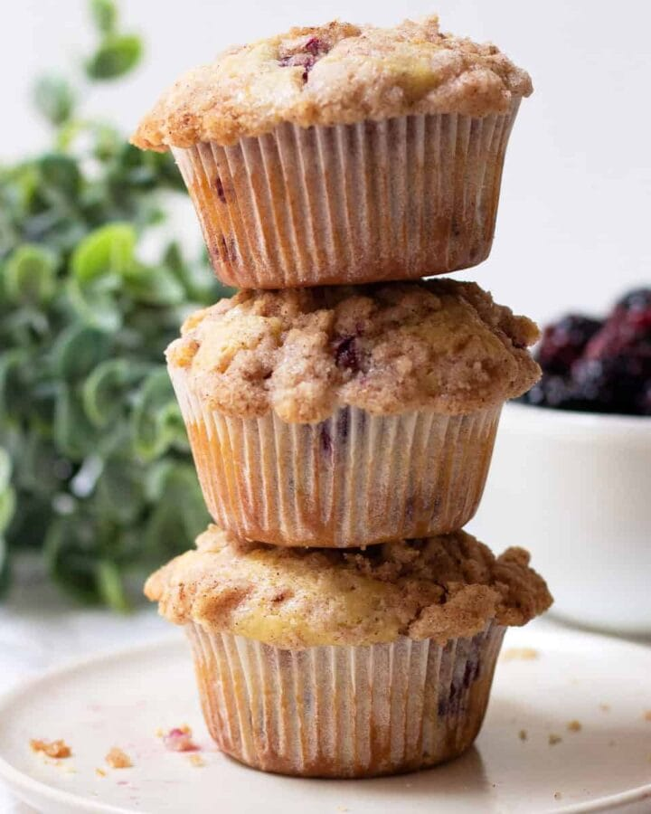 Stack of blueberry streusel muffins