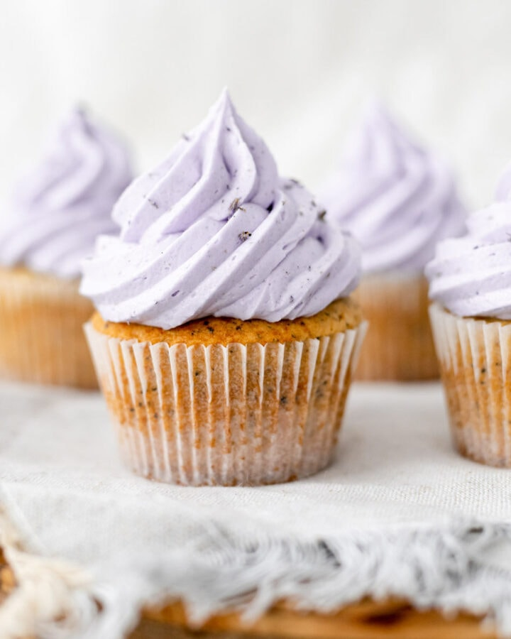 Earl grey lavender cupcakes on a cake stand
