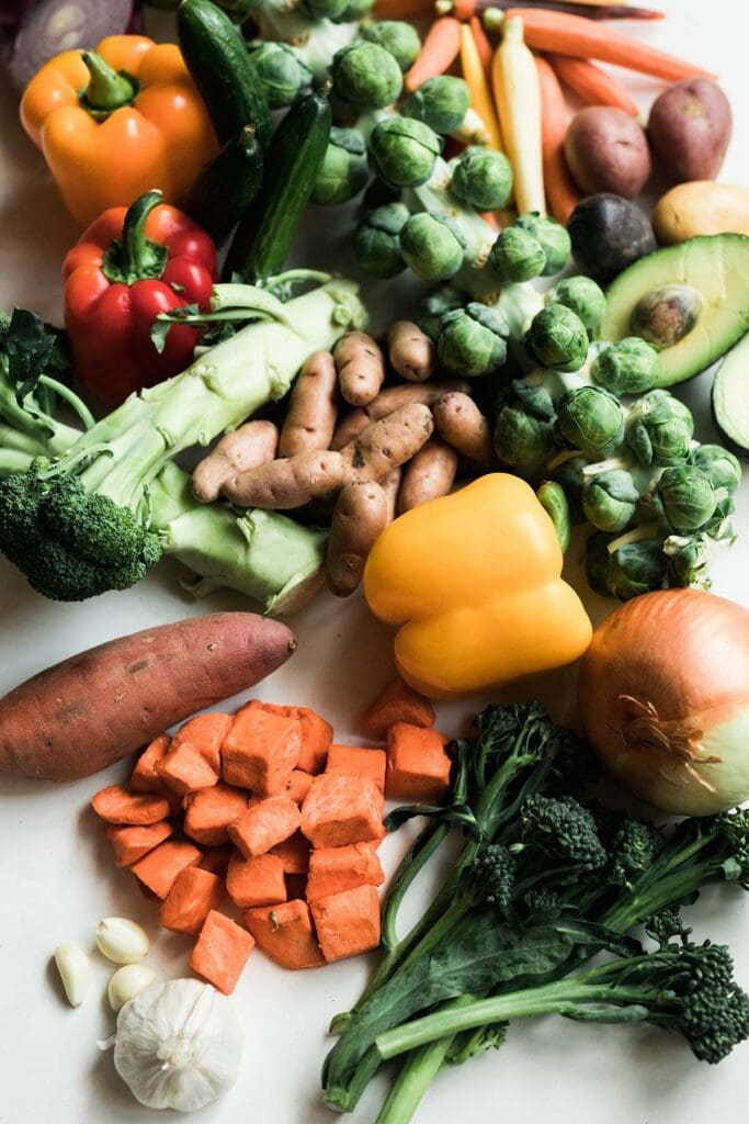 Overhead shot of various fruits and vegetables