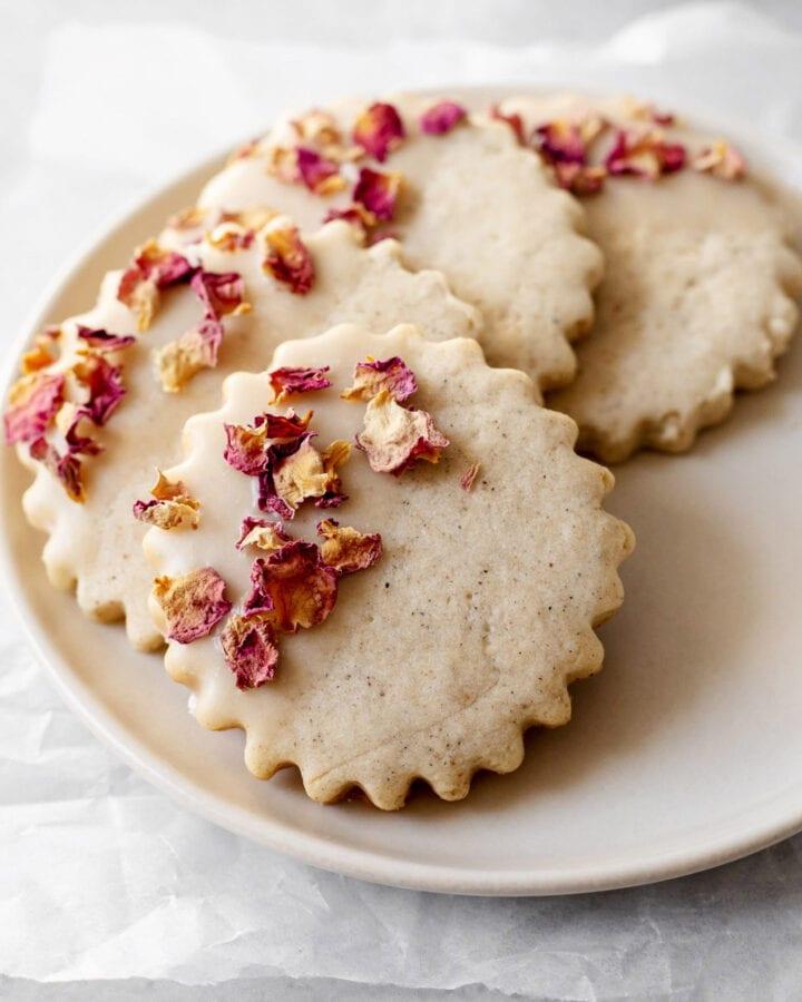 Plate of rose cardamom shortbread cookies
