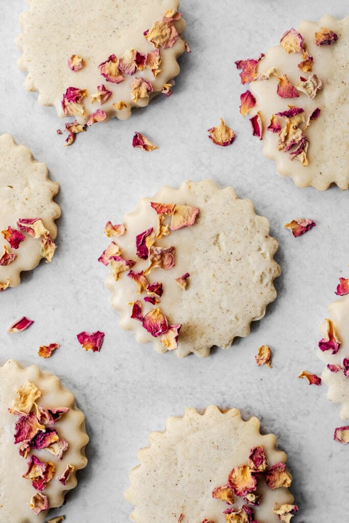 Overhead shot of rose cardamom shortbread cookies