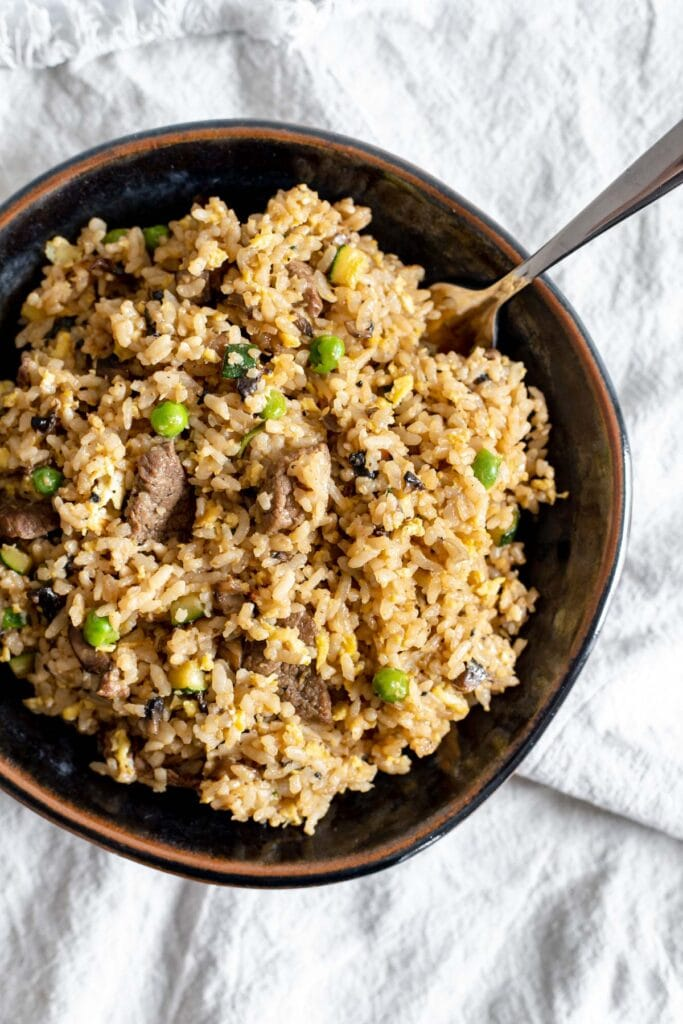 Overhead shot of a bowl of beef fried rice