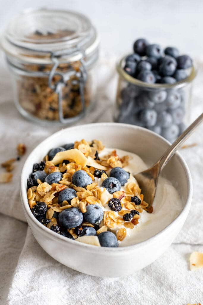 Bowl of yogurt topped with homemade blueberry granola and blueberries