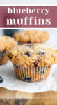 Blueberry muffins on a cutting board with text that reads 'Blueberry Muffins'