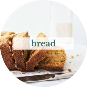 Chocolate chip banana bread with title that reads 'Bread'