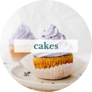 Earl grey lavender cupcakes with title that reads 'Cakes'