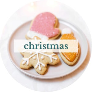 Plate of sugar cookies with title that reads 'Christmas'