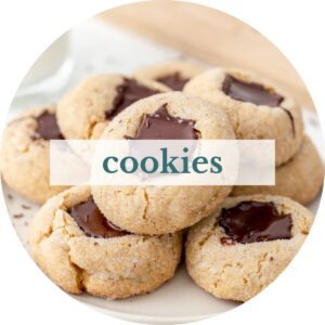 Vegan peanut butter blossoms with title that reads 'Cookies'