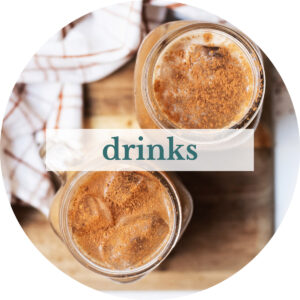 Overhead shot of pumpkin cream cold brew with title that reads 'Drinks'