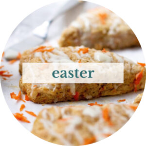 Carrot cake scones with title that reads 'Easter'