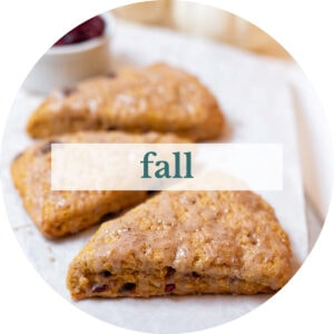 Pumpkin cranberry scones with title that reads 'fall'