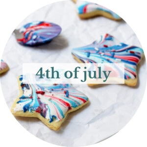 Red, white, and blue marbled star cookies with title that reads '4th of July'