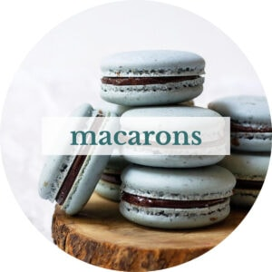 Earl grey macarons with title that reads 'Macarons'