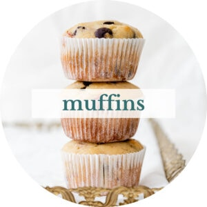 Strawberry chocolate chip muffins with title that reads 'Muffins'