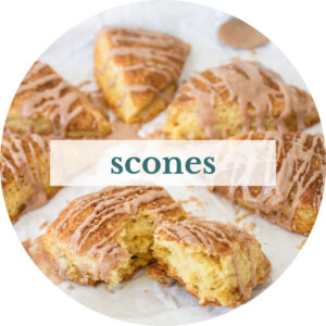 Snickerdoodle scones with title that reads 'Scones'