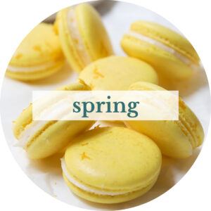 Lemon macarons with title that reads 'Spring'