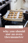 Woman putting cookies into oven with text that reads 'Baking Tips & Tricks: Why You Should Use an Oven Thermometer When Baking'