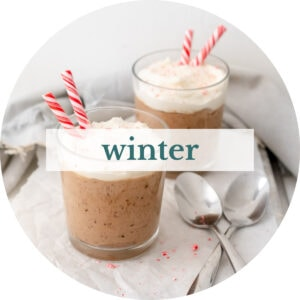 Peppermint chocolate mousse with title that reads 'Winter'