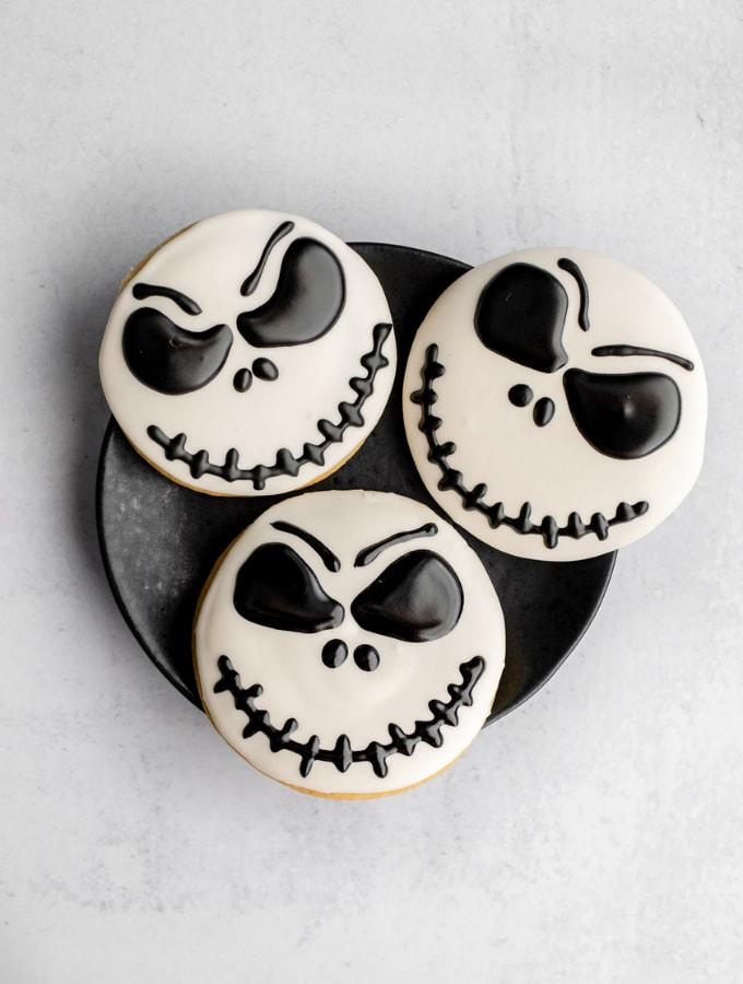 Plate of three Jack Skellington cookies